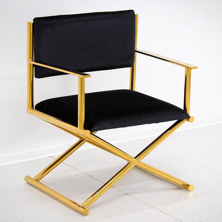 Złoty Fotel Stalowy Tapicerka Czarna Fzc43 Passion And